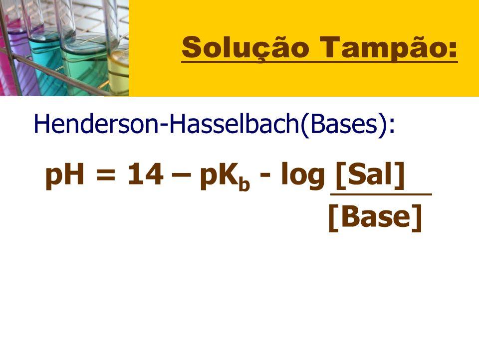 Solução Tampão: pH = 14 – pKb - log [Sal] [Base]